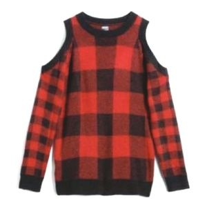 Madison Lilly Open Shoulder Plaid Sweater-NWT